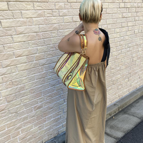 Camel trimmed clear holographic mirror tote
