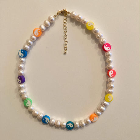 Yin yang freshwater pearl necklace