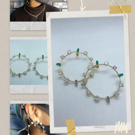 stone hoop earring