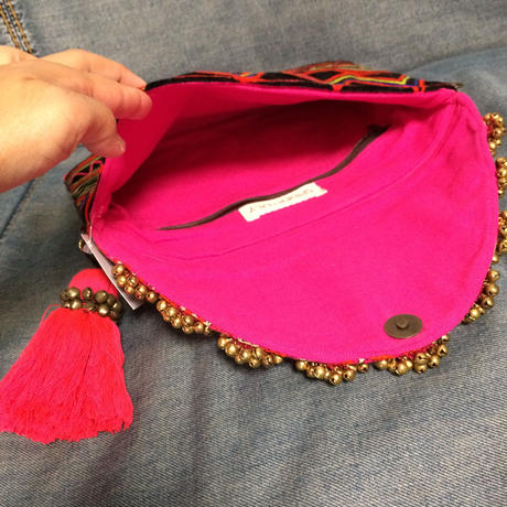 Mirror charm. Embroidered clutch w  big tassel w strap