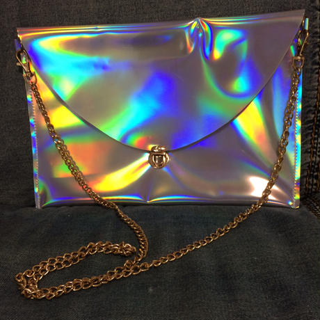 B品セール  holographic envelope clutch