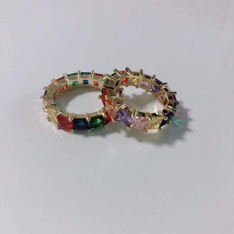 square rainbow candy ring