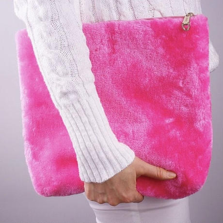 Square faux fur clutch
