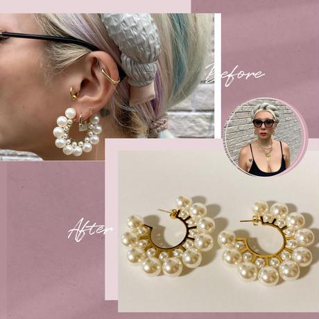 Chunky pearl hoop earrings