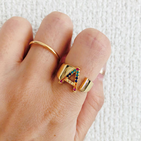 rainbow letter ring