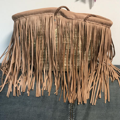 Leather fringed basket