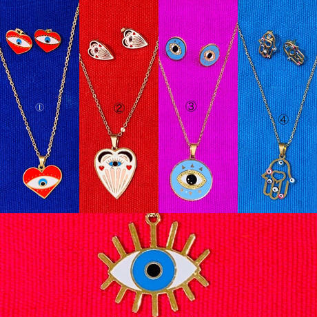 amulet necklace and earring set