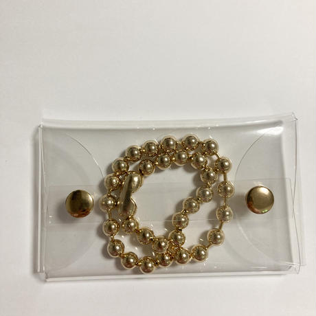 Chunky gold ball chain necklace w pvc case