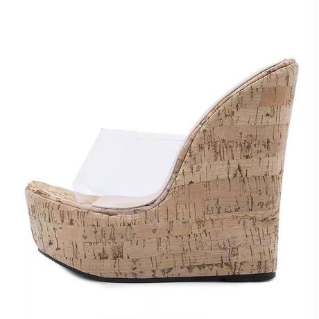 Wedge heel clear sandals
