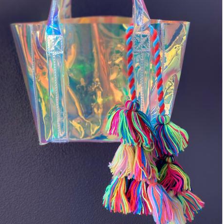 Colorful pom tassels bag charm
