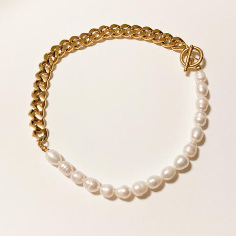 Pearl chain short necklace