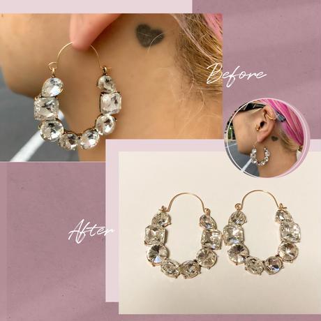 Random clear stones earrings