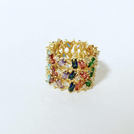 Wide rainbow ring