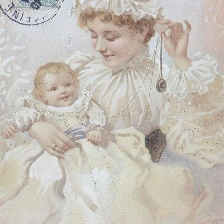 あやされて笑顔の赤ちゃんのポストカード