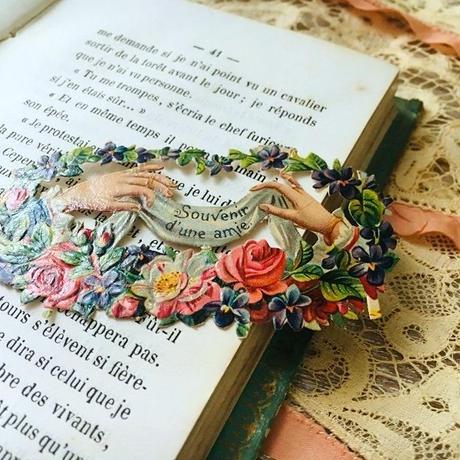 薔薇と葉のガーランドのメッセージ付きクロモス