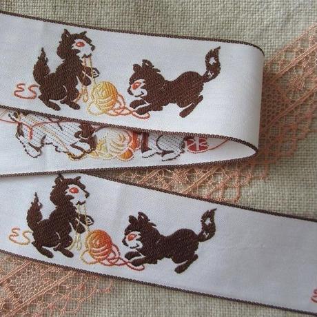 猫ちゃん柄のリボン(メートル売り)