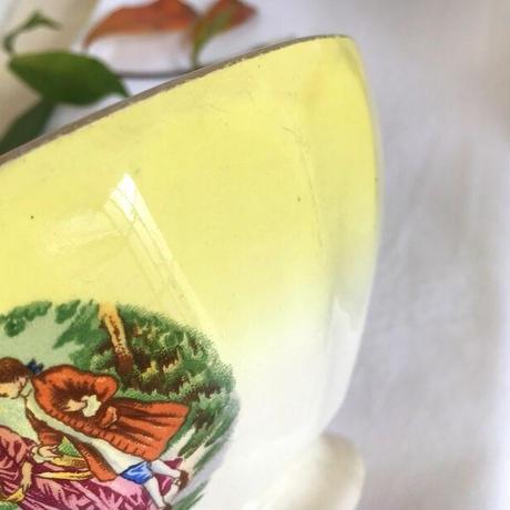 サルグミンヌ窯黄色ぼかし絵柄入りカフェオレボウル