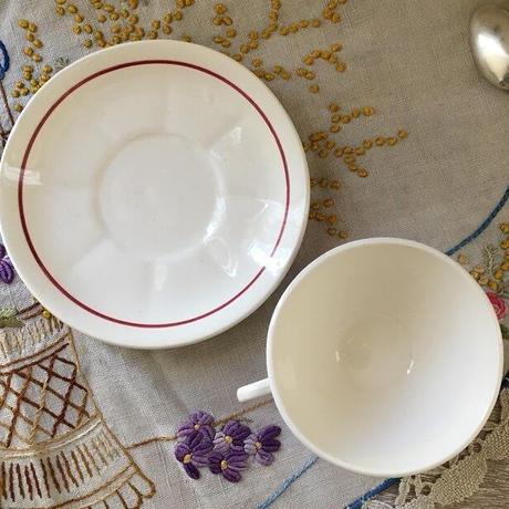 バドンヴィレ窯薔薇モチーフカップ&ソーサー2客セット⑦⑧
