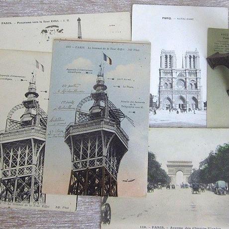 エッフェル塔頂上部のポストカード(カラー)