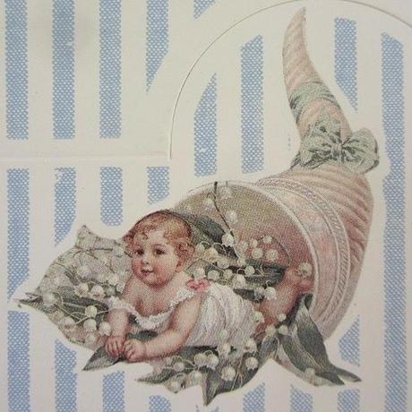 水色ストライプ鈴蘭と子供柄の席札12枚セット
