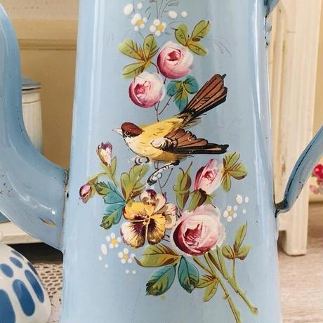 手描き小鳥と薔薇パンジー柄琺瑯コーヒーポット