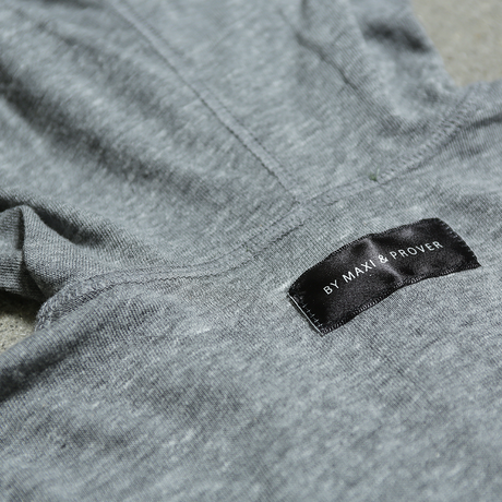 "【Sale Item】Words Logo Hooded L/S Tee ""45 MILLIMETER"" (Gray × Black)"