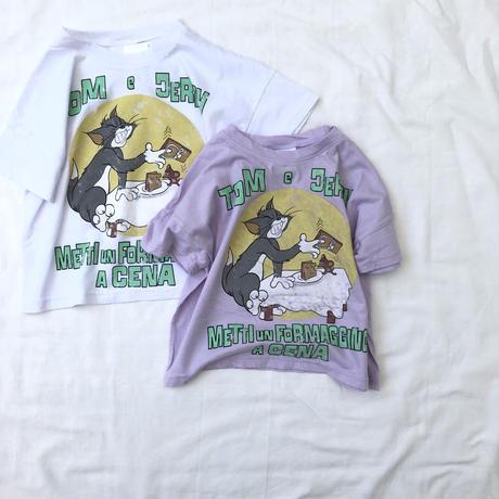 トムとジェリーTシャツ(ホワイト/パープル)90~130