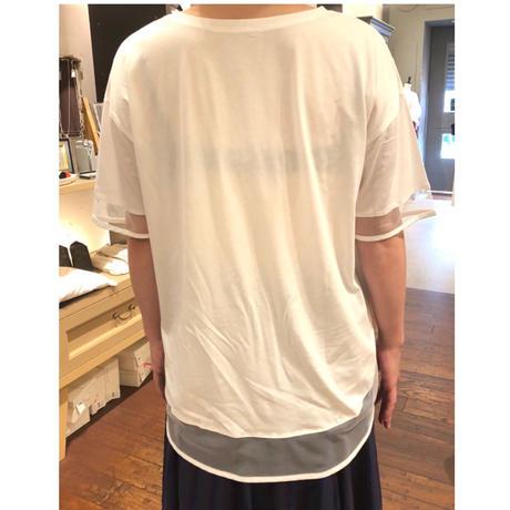 裾シースルーロゴTシャツ