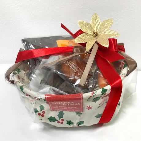 【30セット限定】クリスマス籠 プレミアム ギフトセット(ドリップパック 13g x 4枚 ナチュラル素材の焼き菓子4個 )(クリスマス 飾り付き リボンラッピング)12月18日お届け