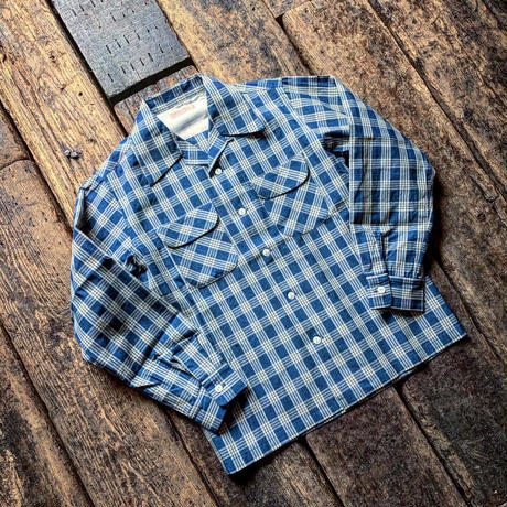 FULLCOUNT / INDIGO PALAKA CHECK OPEN COLLAR SHIRT