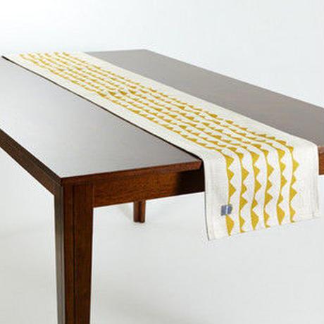 テーブルランナー 北欧デザイン マスタードリップル
