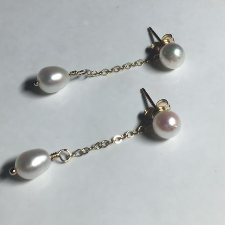 本真珠と淡水パールの2wayピアス