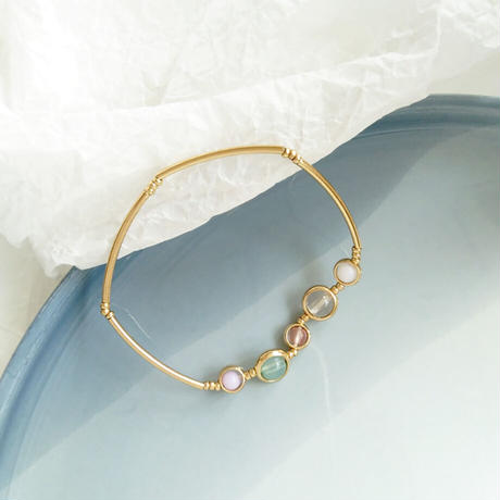 Contracted Sweet Crystal Stretch Bracelet (GOLD)/ BR-031