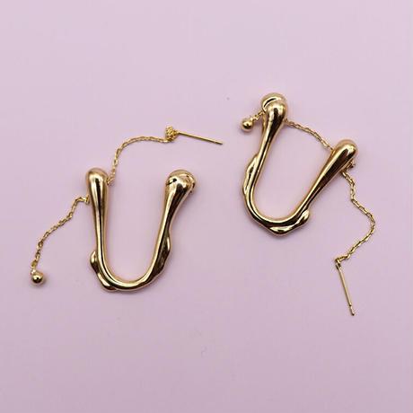 Metal U Type Chain Pierce (GOLD)   /   2105-PR0128