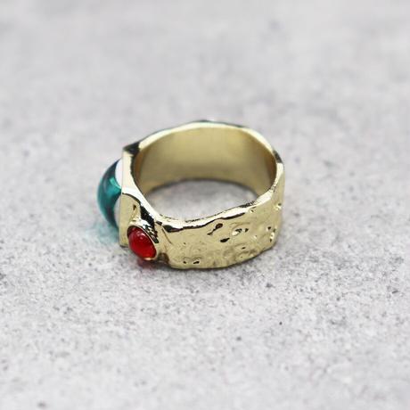 Craft color stone ring(GOLD/TQ BLUE #3) / 2101-RG063