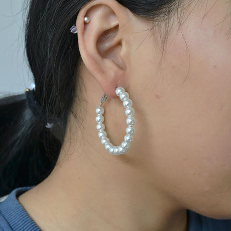 Clip on the ears Pearl Clips Earrings(Large) /  2102_ER048