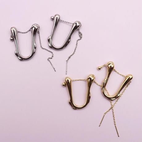 Metal U Type Chain Pierce (SILVER)   /   2105-PR0128
