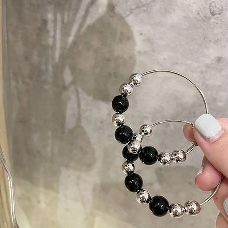 Clip on the ears beaded Clips Earrings(Blk×Gld) /  2102_ER049