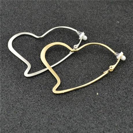 Heart Clip on ear with cushion pad Earrings(Silver) /  2102_ER051