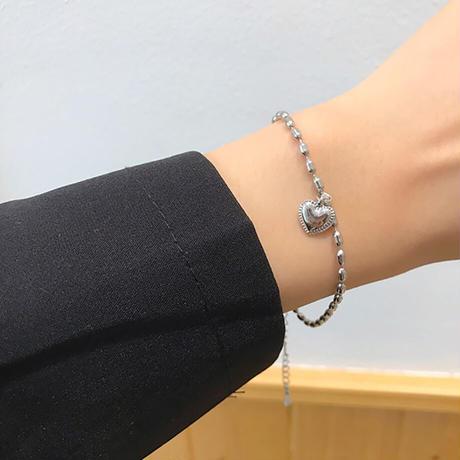 Sweet Hearts Chain Bracelet (SILVER)/ BR-027