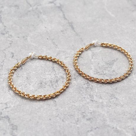 Clip on the ears beaded Clips Earrings(GOLD) /  2102_ER050