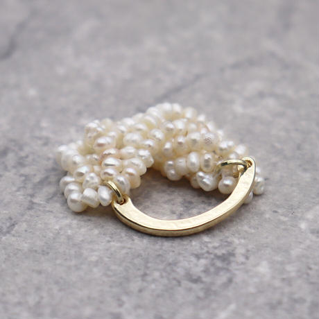 Multilayer Natural Freshwater Pearl Ring(GOLD) / 2102-RG002