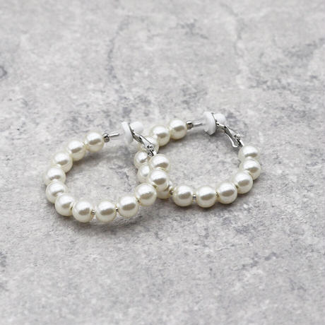 Clip on the ears Pearl Clips Earrings(Small) /  2102_ER048