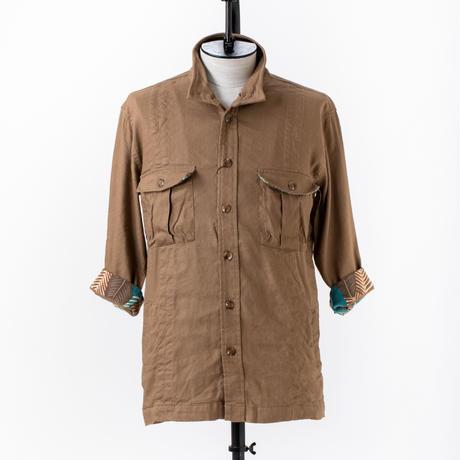 ミリタリースタンドカラー5分袖ジャケット /  CALL & RESPONSE / 191-1105-04 LT.BEG/BRN