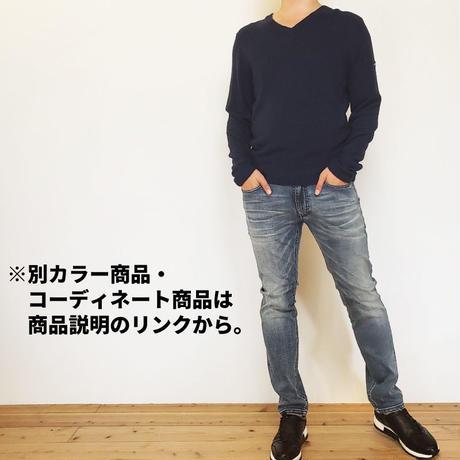 ブークレニットVネック長袖TEE/ ネイビー / 201-1441-01