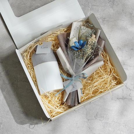 【ミニ花束(ブルー)×フラワーベース(bicouche)】Calonギフトボックス