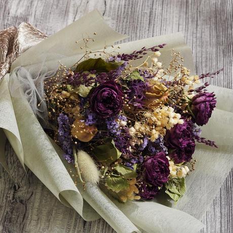 【パープルローズ】 ドライフラワーの花束