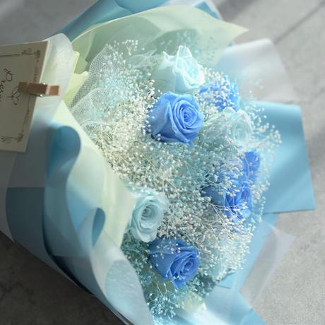 【ダズンローズ】プリザーブドローズの花束 12本のバラ  ブルー