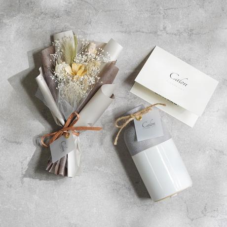 【ミニ花束(ホワイト)×フラワーベース(bicouche)】Calonギフトボックス
