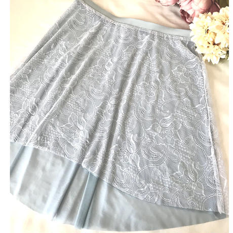 Reversible Lace Skirt(Smoky Blue)
